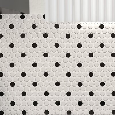 Retro 0.75 x 0.75 Porcelain Mosaic Tile in Matte White/Black