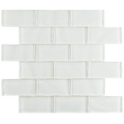 Sierra 1.88 x 3.75 Glass Subway Tile in Ripple White