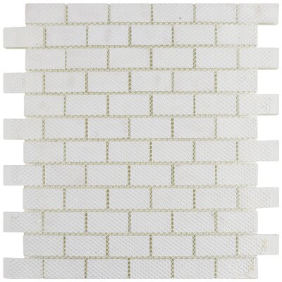 Sierra 0.88 x 1.88 Glass Mosaic Tile in Ice White