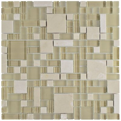 Sierra Random Sized Glass/Stone Mosaic Tile in Versailles Sandstone