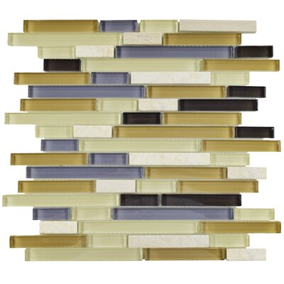 Sierra Random Sized Glass and Natural Stone Mosaic Tile in Cream/Blue