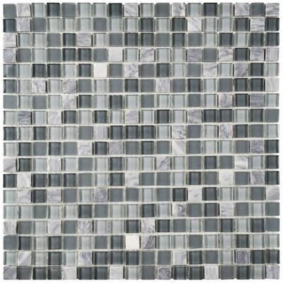 Ambit 1 x 1 Glass/Natural Stone Mosaic Tile in Fortress