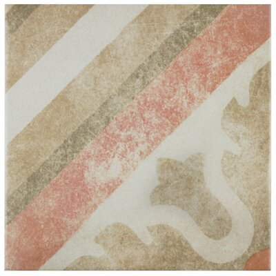 Bartolo 9.5 x 9.5 Porcelain Field Tile in Green/Red/Off-White