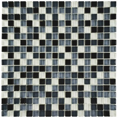 Sierra 0.625 x 0.625 Glass Mosaic Tile in Black/White