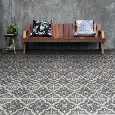 Lima 7.75 x 7.75 Ceramic Field Tile in Charcoal Gray/White