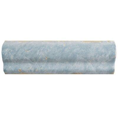 Artisanal 2 x 6.5 Chair Rail Wall Trim Tile in Azul
