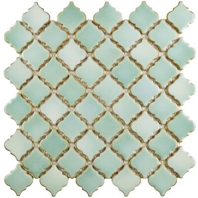 Pharsalia 12.38 x 12.5 Porcelain Mosaic Floor and Wall Tile in Mint Green