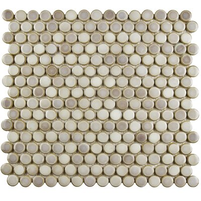 Penny 12 x 12.63 Porcelain Mosaic Floor and Wall Tile in Dove Gray