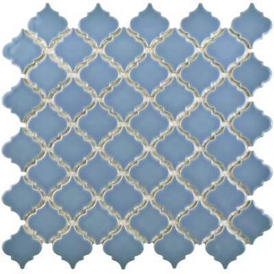 Pharsalia 12.38 x 12.5 Porcelain Mosaic Floor and Wall Tile in Light Blue