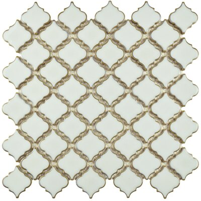 Pharsalia 12.38 x 12.5 Porcelain Mosaic Floor and Wall Tile in Silk White