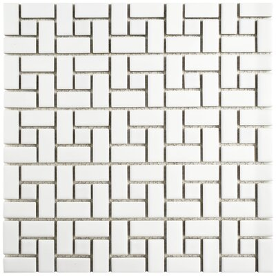 Retro Spiral 12.5 x 12.5 Porcelain Mosaic Floor and Wall Tile in Matte White and Glossy White