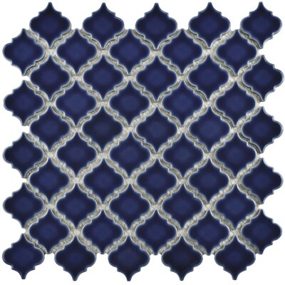 Pharsalia 12.38 x 12.5 Porcelain Mosaic Floor and Wall Tile in Smoky Blue