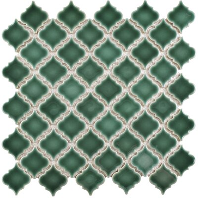 Pharsalia 12.38 x 12.5 Porcelain Mosaic Floor and Wall Tile in Emerald