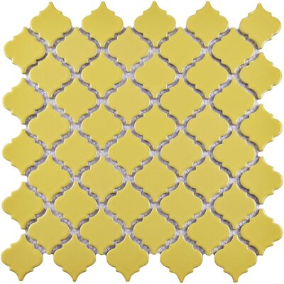 Pharsalia 12.38 x 12.5 Porcelain Mosaic Floor and Wall Tile in Yellow