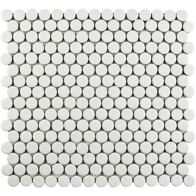 Penny Minerva 12 x 12.63 Porcelain Mosaic Floor and Wall Tile in White