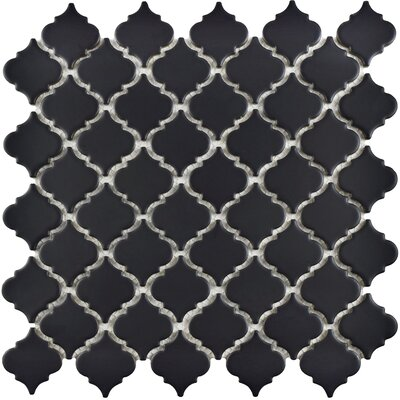 Pharsalia 12.38 x 12.5 Porcelain Mosaic Floor and Wall Tile in Matte Black