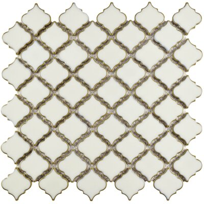 Pharsalia 12.38 x 12.5 Porcelain Mosaic Floor and Wall Tile in Snowcap White