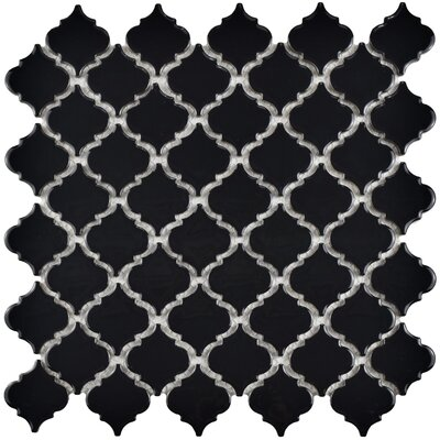 Pharsalia 12.38 x 12.5 Porcelain Mosaic Floor and Wall Tile in Glossy Black