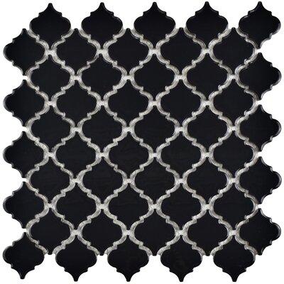 Pharsalia 12.38 x 12.5 Porcelain Mosaic Floor and Wall Tile in Glossy Black