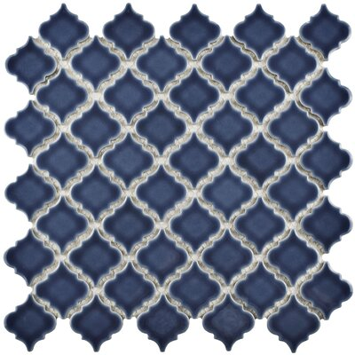 Pharsalia 12.38 x 12.5 Porcelain Mosaic Floor and Wall Tile in Denim Blue