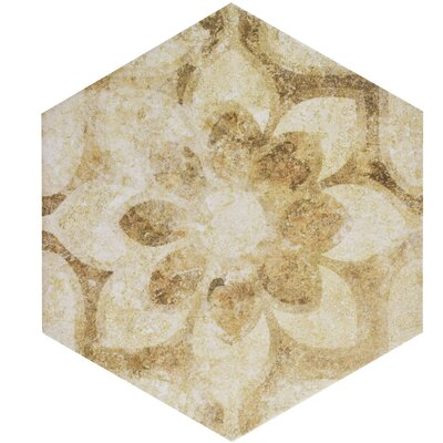 Roche 8.63 x 9.88 Hex Decor Porcelain Field Tile in White/Cream