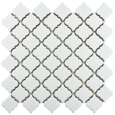 Pharsalia Minerva 12.38 x 12.5 Porcelain Mosaic Floor and Wall Tile in White