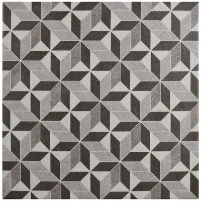 Annata 9.75 x 9.75 Porcelain Field Tile in Gray/Black