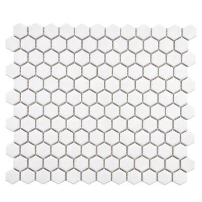 Retro 0.88 x 0.88 Porcelain Mosaic Tile in Glossy White