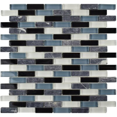 Sierra 0.58 x 1.88 Glass and Natural Stone Mosaic Tile in Black/Blue