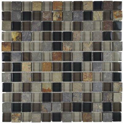 Sierra 0.88 x 0.88 Glass and Natural Stone Mosaic Tile in Black/Gray