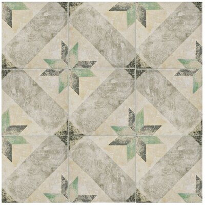 Herculanea 9.75 x 9.75 Porcelain Field Tile in Beige/Gray