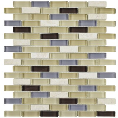 Sierra 0.58 x 1.88 Glass Mosaic Tile in Blue/Beige