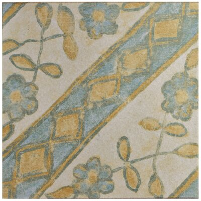 Shale 12.75 x 12.75 Ceramic Field Tile in Blue/Yellow