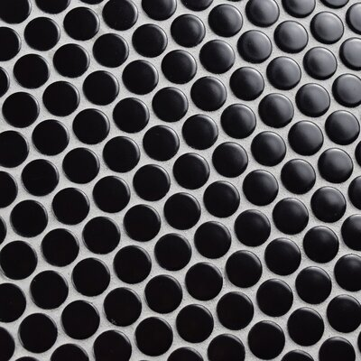 Retro 0.75 x 0.75 Penny Round Porcelain Mosaic Tile in Matte Satin Black