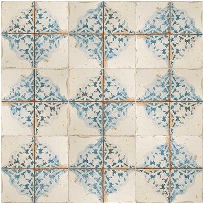 Artisanal 13 x 13 Ceramic Field Tile in Azul/Beige