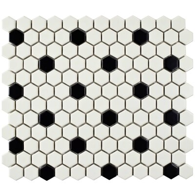 Retro 0.88 x 0.88 Porcelain Mosaic Tile in Matte White/Black