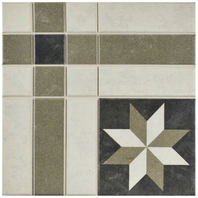 Cien 9.75 x 9.75 Porcelain Field Tile in Black/Tan