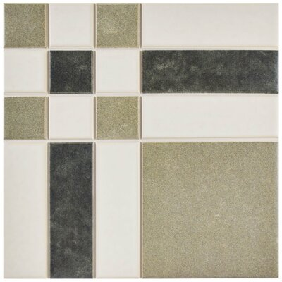 Cien 9.75 x 9.75 Porcelain Field Tile in Tan/Black