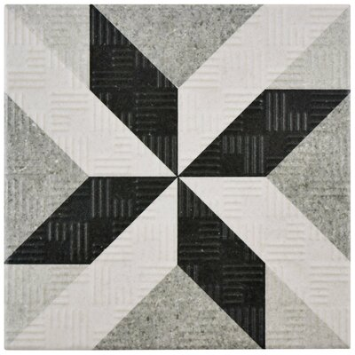 Region 6 x 6 Porcelain Field Tile in Light Gray/Black