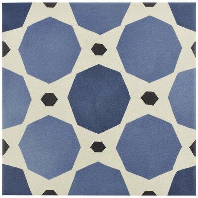 Grotta 7.88 x 7.88 Porcelain Field Tile in Semi-Gloss Blue/Black