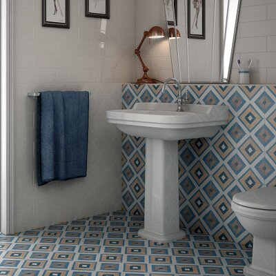Grotta 7.88 x 7.88 Porcelain Filed Tile in Taupe/Blue