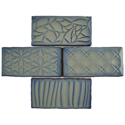 Antiqua Sensations 3 x 6 Ceramic Subway Tile in Gray/Navy
