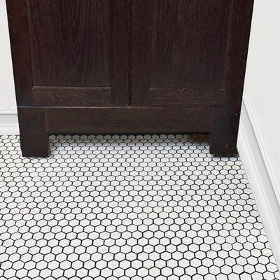 Retro 0.875 x 0.875 Hex Porcelain Mosaic Tile in Matte White