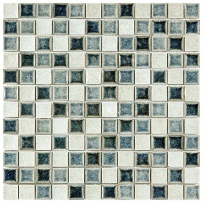 Interval 0.88 x 0.88 Ceramic and Glass Mosaic Tile in Azure Blue/Beige