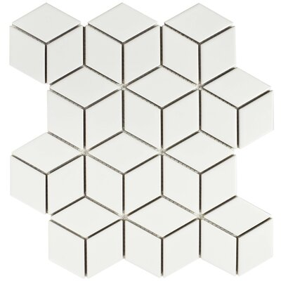Retro Rhombus 1.88 x 3.18 Porcelain Mosaic Tile in Matte White