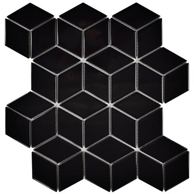 Retro Rhombus 1.88 x 3.18 Porcelain Mosaic Tile in Glossy Black