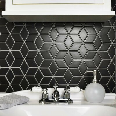 Retro Rhombus 1.88 x 3.18 Porcelain Mosaic Tile in Matte Black