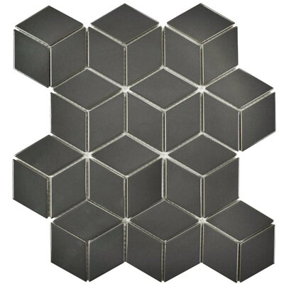 Retro Rhombus 1.88 x 3.18 Porcelain Mosaic Tile in Glossy Gray