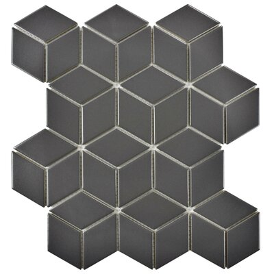 Retro Rhombus 1.88 x 3.18 Porcelain Mosaic Tile in Matte Gray