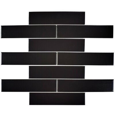 Retro Soho 1.75 x 7.75 Porcelain Subway Tile in Black